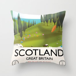 Scotland 'It's quicker by rail' Travel poster Throw Pillow