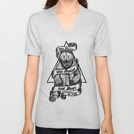 The Bear with Beard and Beer Unisex V-Neck