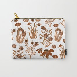 Brown Flowers Pattern Carry-All Pouch