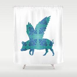 Vintage Blue Flying Pig Shower Curtain