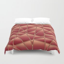 'Quilted' Geometric in Coral Duvet Cover