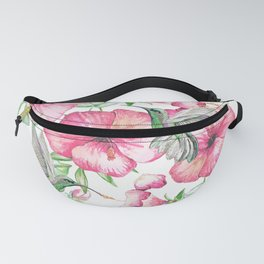 Hibiscus + Hummingbirds Pink Fanny Pack