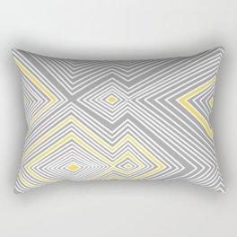 White, Yellow, and Gray Lines - Illusion Rectangular Pillow