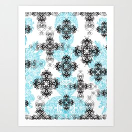 Cross Pattern Illustration, Ink Drawing Art Print