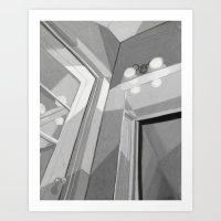 White Bedroom Door Art Print
