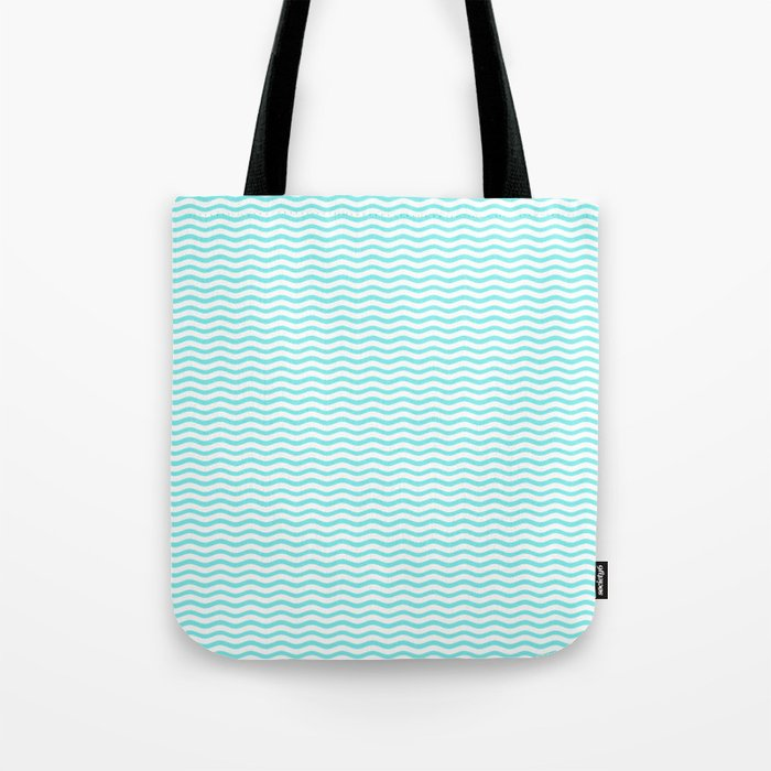 Aqua Belle and White Chevron Wave Wavy ZigZag Stripes Tote Bag