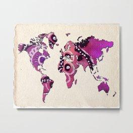 World Map Purple Tribal Metal Print