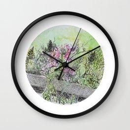 Sidewalk Flowers Wall Clock