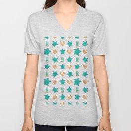 Cute turquoise orange turtle nautical coral reef floral Unisex V-Neck