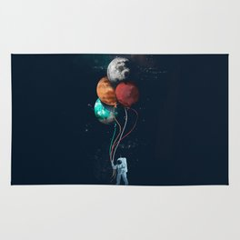 Astronauts and Planet Balloon Rug