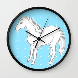 White Horse with Light Blue & Polka Dots Wall Clock
