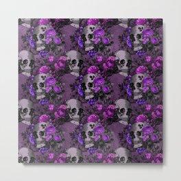 Gothic Flower Skulls Metal Print