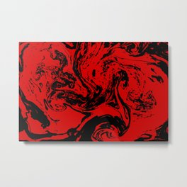 Red & Black liquid ink Metal Print