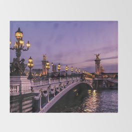 Sunset over Paris Bridge (Color) Throw Blanket
