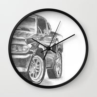 mustang Wall Clocks featuring Mustang by WNN Creations