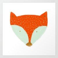 mr fox Art Prints featuring mr fox by Sweet Reverie