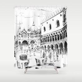 Sketch of San Marco Square in Venice Shower Curtain