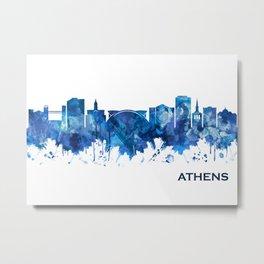 Athens Georgia Skyline Blue Metal Print
