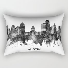 Austin Texas Skyline BW Rectangular Pillow