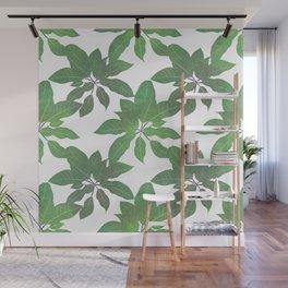 Elegant tropical Green leaves White design Wall Mural
