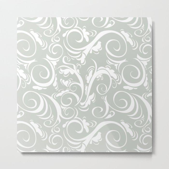 Gray Grey Floral Sea Salt Metal Print
