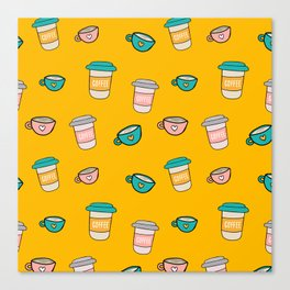 Happy coffee cups and mugs in yellow background Canvas Print