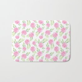 Blush pink green modern watercolor hand painted camellias Bath Mat