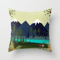 cartoons Throw Pillows featuring March by Kakel