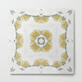 Creamy Yellow Rose Kaleidoscope Art 3 Metal Print
