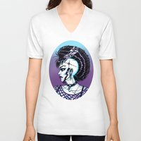 punk rock V-neck T-shirts featuring Punk Rock Girl by Eeriette