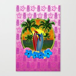 Tropical Sunset Pink Tiki Mask Canvas Print