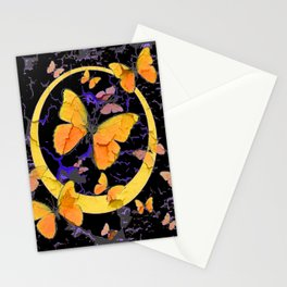 BLACK & YELLOW BUTTERFLIES VIGNETTE ABSTRACT ART Stationery Cards