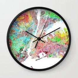 New York map splash painting Wall Clock