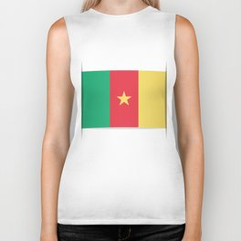 Flag of Cameroon.  The slit in the paper with shadows.  Biker Tank