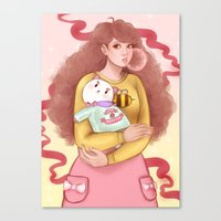 bee and puppycat Canvas Prints featuring Bee and Puppycat by MW Illustration
