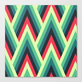 ZIG ZAG yellow, green, blue, black red Shapes Canvas Print