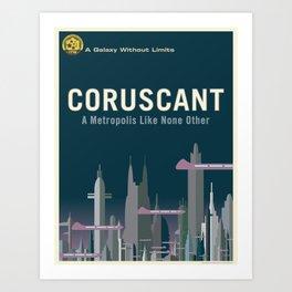 Coruscant - VINTAGE TRAVEL POSTER Art Print