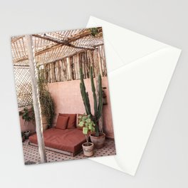 Tropical Terrace Marrakech Photo Art Print   Pink Rooftop Cactus Plants   Morocco Travel Photography Stationery Cards