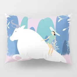The Girl and the Bull in the Meadow Pillow Sham