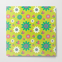 Retro Fall 60's Sunflower Floral in Lime Green Metal Print