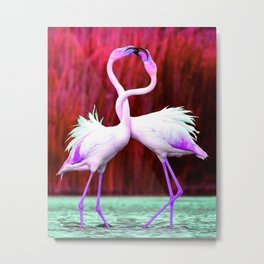 Flamingo Love Metal Print