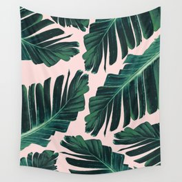 Tropical Blush Banana Leaves Dream #1 #decor #art #society6 Wall Tapestry
