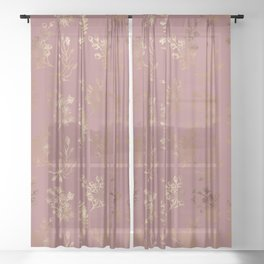 Mauve pink faux gold wildflowers illustration Sheer Curtain