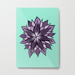 Purple Mandala Like Abstract Flower Metal Print