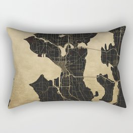 Seattle Black and Gold Map Rectangular Pillow