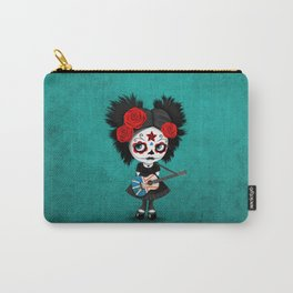 Day of the Dead Girl Playing Newfoundland Flag Guitar Carry-All Pouch
