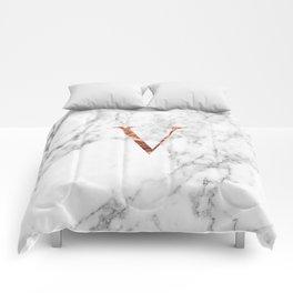 Monogram rose gold marble V Comforters