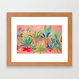 Leopard in Succulent Garden Framed Art Print