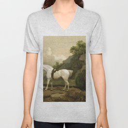 George Stubbs - A Grey Hunter with a Groom and a Greyhound at Creswell Crags Unisex V-Neck
