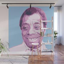 James Baldwin Portrait Blue Purple Wall Mural